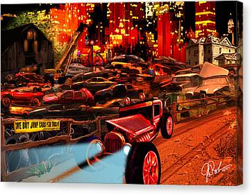 Jed Cooper Junk Yard Canvas Print by Gerry Robins