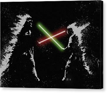 Jedi Duel Canvas Print by George Pedro