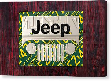 Jeep Vintage Logo Recycled License Plate Art Canvas Print by Design Turnpike