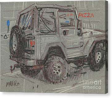 Canvas Print featuring the painting Jeep With Pizza by Donald Maier