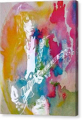 Jeff Beck Watercolor Canvas Print by Dan Sproul