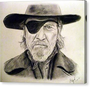 Jeff Bridges As U.s. Marshal Rooster Cogburn Canvas Print by Jim Fitzpatrick