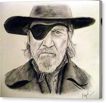 Jeff Bridges Canvas Print - Jeff Bridges As U.s. Marshal Rooster Cogburn by Jim Fitzpatrick