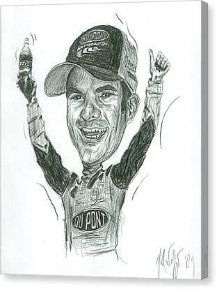 Jeff Gordon Caricature Canvas Print by Michael Morgan