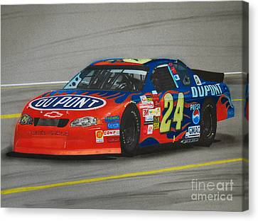 Jeff Gordon Hits Pit Road Canvas Print by Paul Kuras