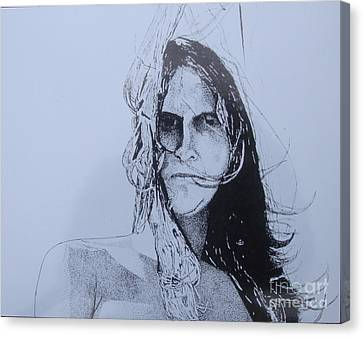 Canvas Print featuring the drawing Jeff by Stuart Engel