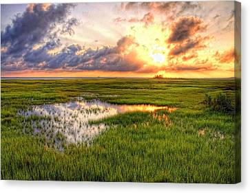 Jeffers Sunset Reflection Canvas Print by John Loreaux