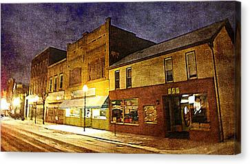 Jefferson Avenue On A Cold Winters Night Canvas Print