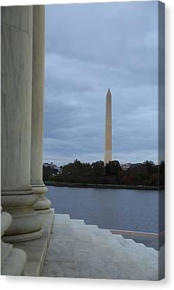 Jefferson Memorial And Washington Monument - Washington Dc - 01131 Canvas Print by DC Photographer
