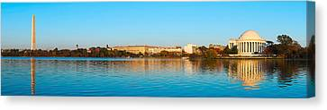 Jefferson Memorial Canvas Print - Jefferson Memorial And Washington by Panoramic Images