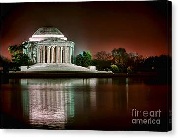 Jefferson Memorial Canvas Print - Jefferson Memorial At Night by Olivier Le Queinec