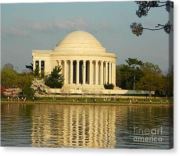 Canvas Print featuring the photograph Jefferson Memorial At Sunset by Emmy Marie Vickers