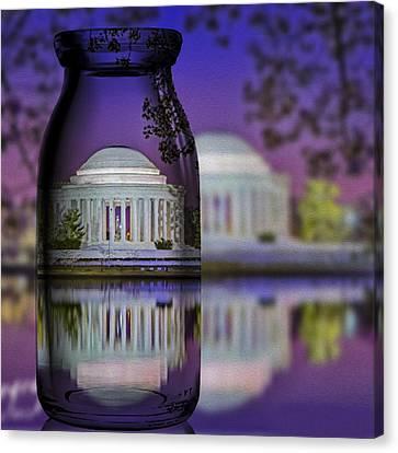 Jefferson Memorial In A Bottle Canvas Print by Susan Candelario