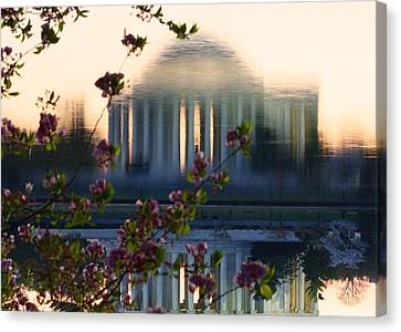 Jefferson Memorial Reflection With Cherry Blossoms Canvas Print