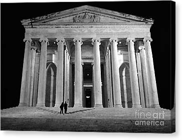 Us Capital Canvas Print - Jefferson Monument At Night by Lane Erickson