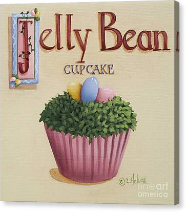 Country Kitchen Canvas Print - Jelly Bean Cupcake by Catherine Holman