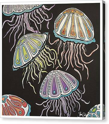 Jelly Fish Dance Canvas Print by Shanni Welsh