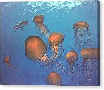 Jellyfish And Mr. Bones Canvas Print by Philip Fleischer