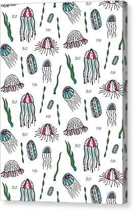 Jellyfish Repeat Print Canvas Print by Susan Claire