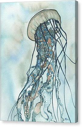 Canvas Print featuring the painting Jellyfish Three by Tamara Phillips