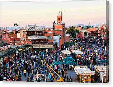 Jemaa El Fna Square At Dusk In Marrakesh Morroco Canvas Print by David Smith