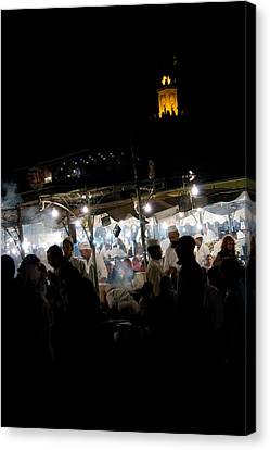 Jemaa El Fna Square In Marrakesh At Nightorroco Canvas Print by David Smith