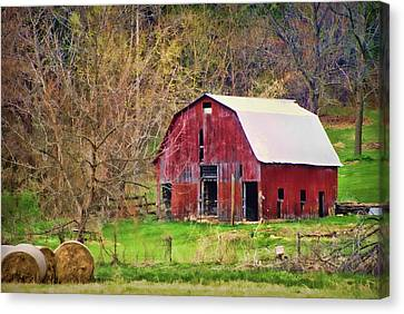 Bales Canvas Print - Jemerson Creek Barn by Cricket Hackmann