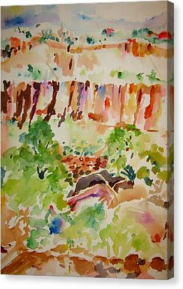 Canvas Print featuring the painting Jemez Cliff Study by Jeffrey S Perrine