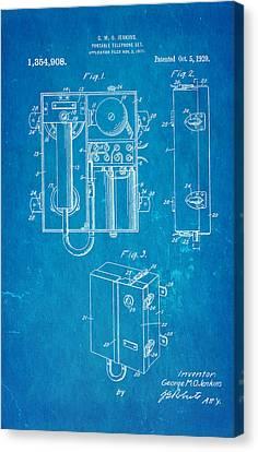 Jenkins Portable Telephone Patent Art 1920 Blueprint Canvas Print by Ian Monk