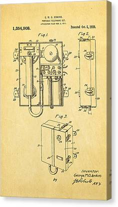 Jenkins Portable Telephone Patent Art 1920 Canvas Print by Ian Monk