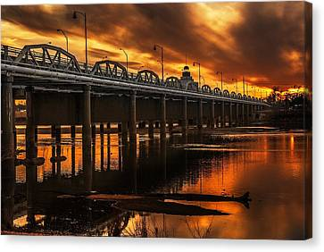 Jenks Bridge At Sunset Canvas Print by Tim Hayes