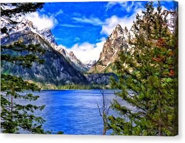 Canvas Print featuring the painting Jenny Lake by Michael Pickett