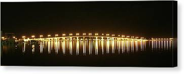 Jensen Causeway At Night Canvas Print by Lynda Dawson-Youngclaus