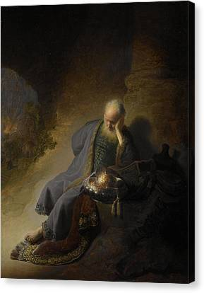 Jeremiah Lamenting Over The Destruction Of Jerusalem, 1630 Oil On Panel Canvas Print by Rembrandt Harmensz. van Rijn