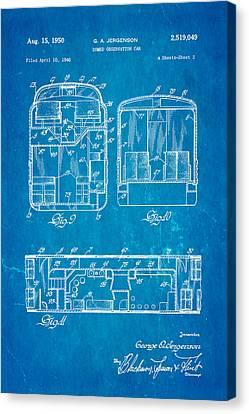 Jergenson Domed Observation Car Patent Art 1950 Blueprint Canvas Print by Ian Monk