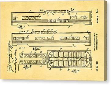 Jergenson Railway Car Patent Art 1950 Canvas Print by Ian Monk