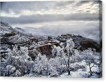 Canvas Print featuring the photograph Jerome After Icy Snow Storm by Ron Chilston