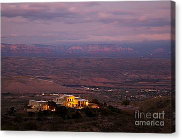 Jerome State Park With Red Rocks Of Sedona Arizona In Magic Light Canvas Print by Ron Chilston