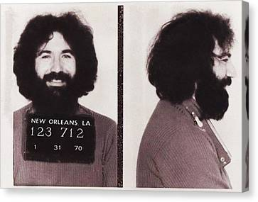 Grateful Dead Canvas Print - Jerry Garcia Mugshot by Bill Cannon