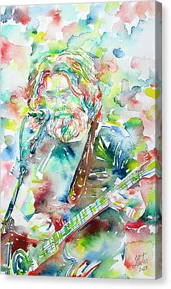 Concert Images Canvas Print - Jerry Garcia Playing The Guitar Watercolor Portrait.2 by Fabrizio Cassetta