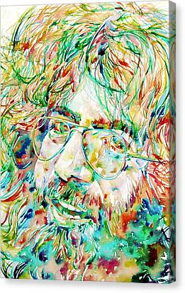 Jerry Garcia Watercolor Portrait.1 Canvas Print by Fabrizio Cassetta
