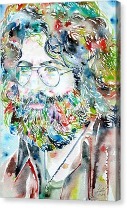 Jerry Garcia Watercolor Portrait.2 Canvas Print by Fabrizio Cassetta