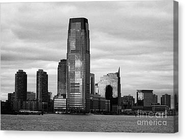 Jersey City New Jersey Waterfront And 10 Exchange Place New York City Canvas Print by Joe Fox
