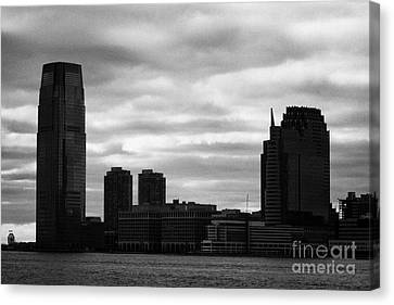 Jersey City New Jersey Waterfront And 10 Exchange Place Silhouette Canvas Print