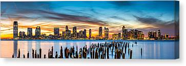 Canvas Print featuring the photograph Jersey City Panorama At Sunset by Mihai Andritoiu