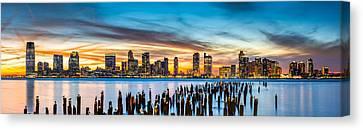 Jersey City Panorama At Sunset Canvas Print by Mihai Andritoiu