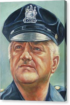 Jersey City Policeman Canvas Print by Melinda Saminski