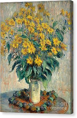 Jerusalem Artichoke Flowers Canvas Print by Claude Monet