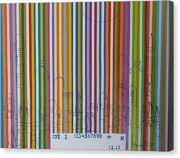 Jerusalem Barcode Canvas Print by Hanna Fluk