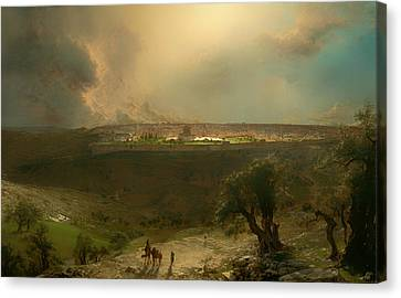 Jerusalem From The Mount Of Olives Canvas Print by Mountain Dreams